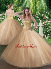 Affordable A Line Champagne Sweet 16 Gowns with Beading SJQDDT351002FOR