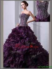 Beautiful A Line Brush Train Beading and Ruffles Quinceanea Dresses  UNION19T06AFOR