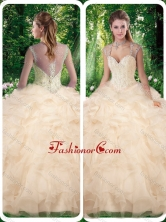 Beautiful Champange Quinceanera Dresses with Beading and Appliques SJQDDT261002FOR