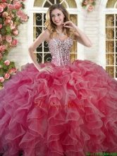 Beautiful Coral Red Big Puffy Quinceanera Dress with Ruffles and Beading YSQD003-1FOR
