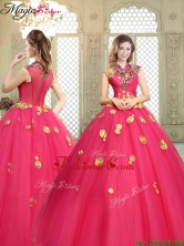 Beautiful High Neck Cap Sleeves Quinceanera Dresses with Appliques YCQD054FOR