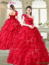 Beautiful One Shoulder Ruffles Quinceanera Gowns in Red YCQD010FOR