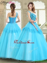 Beautiful One Shoulder Sweet 16 Dresses with Lace and Appliques YCQD046FOR