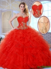 Beautiful Red Quinceanera Dresses with Appliques and Ruffles SJQDDT144002-1FOR