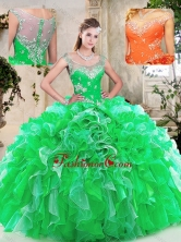Beautiful Scoop Quinceanera Dresses with Beading and Ruffles SJQDDT238002-1FOR