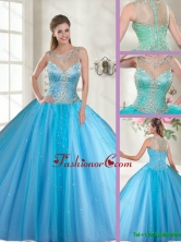 Beautiful Scoop Tulle Quinceanera Dresses with Beading SJQDDT116002AFOR
