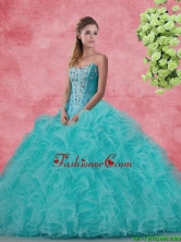 Beautiful Strapless Beaded and Ruffles Quinceanera Dresses in Aqua Blue SJQDDT97002FOR