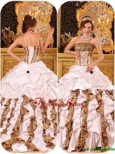 Beautiful Strapless White Quinceanera Gowns with Brush Train  QDZY010CFOR