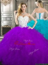 Best Beaded and Ruffled Quinceanera Dress in Purple and White YYPJ023FOR