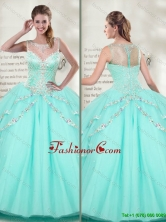 Best Selling Scoop 2016 Mint Quinceanera Dresses with Beadedwith SJQDDT118002AFOR