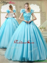 Cheap Aqua Blue Quinceanera Gowns with Appliques and Ruffles YCQD015FOR
