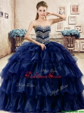 Cheap Beaded and Ruffled Layers Quinceanera Dress in Navy Blue YYPJ040-1FOR