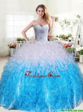 Cheap Beaded and Ruffled Quinceanera Dress in Blue and White YYPJ033-1FOR