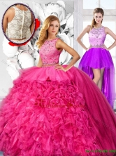 Cheap Hot Pink Detachable Quinceanera Dresses with Scoop SJQDDT121001FOR