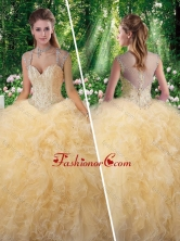 Classical Ball Gown Beading Sweet 16 Gowns in Champange SJQDDT273002FOR