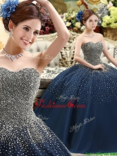 Classical Beaded Bodice Sweet 16 Dress in Navy Blue YCQD088FOR