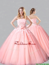 Classical Court Train Belted and Applique Sweet 16 Dress in Baby Pink XFQD1187FOR