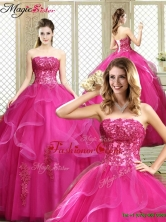 Classical Strapless Fuchsia Sweet 16 Dresses with Appliques YCQD017FOR