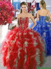 Discount Red and White Sweet 16 Dress with Beading and Ruffles YYPJ011FOR