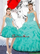 Elegant 2016 Winter Straps Ball Gown Detachable Quinceanera Dresses in Turquoise QDDTA116001-1FOR