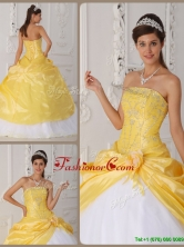 Elegant Appliques Quinceanera Gowns with Hand Made Flower  QDZY462CFOR