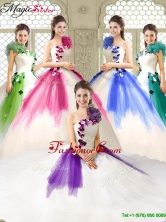Elegant Appliques and Ruffles Quinceanera Dresses with One Shoulder YCQD011AFOR