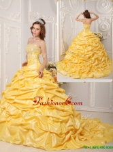 Elegant Ball Gown Court Train Appliques and Beading Quinceanera Dresses  QDZY008AFOR