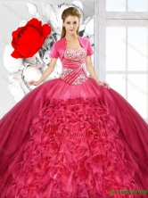 Elegant Ball Gown Sweetheart Quinceanera Dresses in Coral Red SJQDDT126002FOR