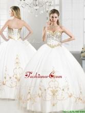 Elegant Beaded and Applique Tulle Sweet 16 Dress in White YYPJ035FOR