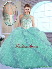Elegant High Neck Quinceanera Dresses with Appliques and Ruffles SJQDDT146002FOR