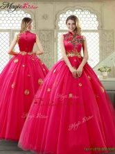 Exclusive High Neck Quinceanera Gowns in Coral Red YCQD006FOR