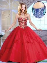 Exclusive Red Sweetheart Sweet 16 Dresses with Beading and Appliques SJQDDT163002B-2FOR