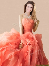Exclusive Rolling Flowers Orange Red Quinceanera Dress with Brush Train  XFQD1188FOR
