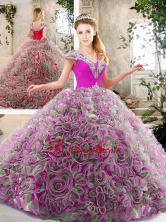 Exquisite Beading and Ruffles Quinceanera Dresses in Multi Color SJQDDT207002-1FOR