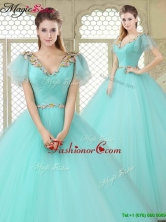 Exquisite V Neck Mint Sweet 16 Dresses with Appliques YCQD007FOR