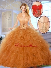 Fall Fashionable Appliques Sweet 16 Dresses in Champagne SJQDDT144002-2FOR