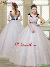 Fall Pretty Champagne Straps Quinceanera Gowns with Belt and Appliques YCQD042FOR