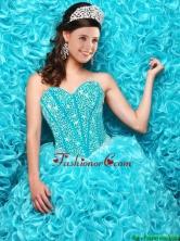 Fashionable 2016 Fall Aqua Blue Quinceanera Dresses with Beading and Ruffles QDDTA118002FOR