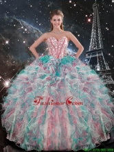 Fashionable 2016 Fall Sweetheart Beaded and Ruffles Quinceanera Gowns in Multi Color QDDTA91002FOR