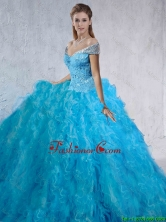Fashionable Beaded and Laced 2016 Quinceanera Gowns with Brush Train SJQDDT110002FOR