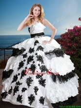 Fashionable Black and White Quinceanera Dress with Appliques and Ruffled Layers XFQD1181FOR