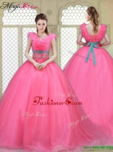 Fashionable Brush Train Quinceanera Dresses in Hot Pink YCQD049FOR