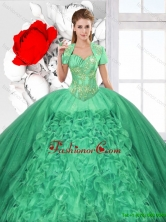 Fashionable Ruffles and Beaded Quinceanera Dresses in Green SJQDDT125002-1FOR