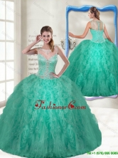 Fashionable Scoop Turquoise Quinceanera Gowns with Zipper Up SJQDDT115002AFOR