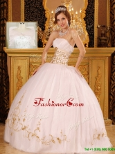 Fashionable Strapless Appliques Quinceanera Dresses in White  QDZY089CFOR