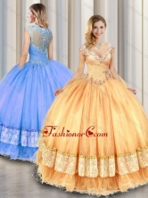 Fashionable Straps Beading and Appliques Sweet 16 Gowns SJQDDT319002FOR