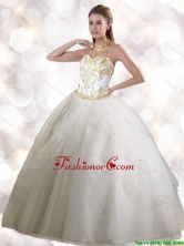 Feminine Halter Top White Quinceanera Gowns with Appliques SJQDDT112002FOR