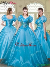 Gorgeous Appliques and Beading Sweet 16 Dresses with V Neck YCQD008FOR