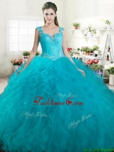 Gorgeous Straps Beaded and Ruffled Quinceanera Dress in Turquoise YYPJ029-1FOR