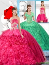 Hot Pink Affordable Detachable Quinceanera Dresses with Beading SJQDDT125001FOR